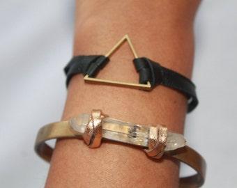 BRASS TRIANGLE BLACK deerskin leather bracelet