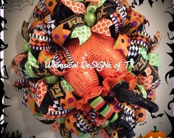 Whimsical Witch Booty Wreath (Orange)