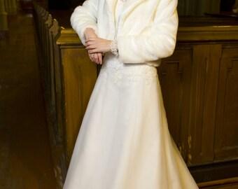 Faux fur bridal bolero jacket ,Faux Fur Wedding Coat,Wedding Jacket, Bride's Gift, Wedding Coat
