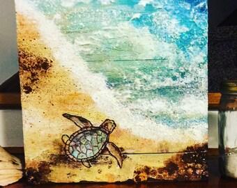 Sea Turtle Mixed media beach collage
