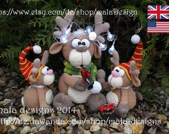 christmas moose, crochet pattern by mala designs