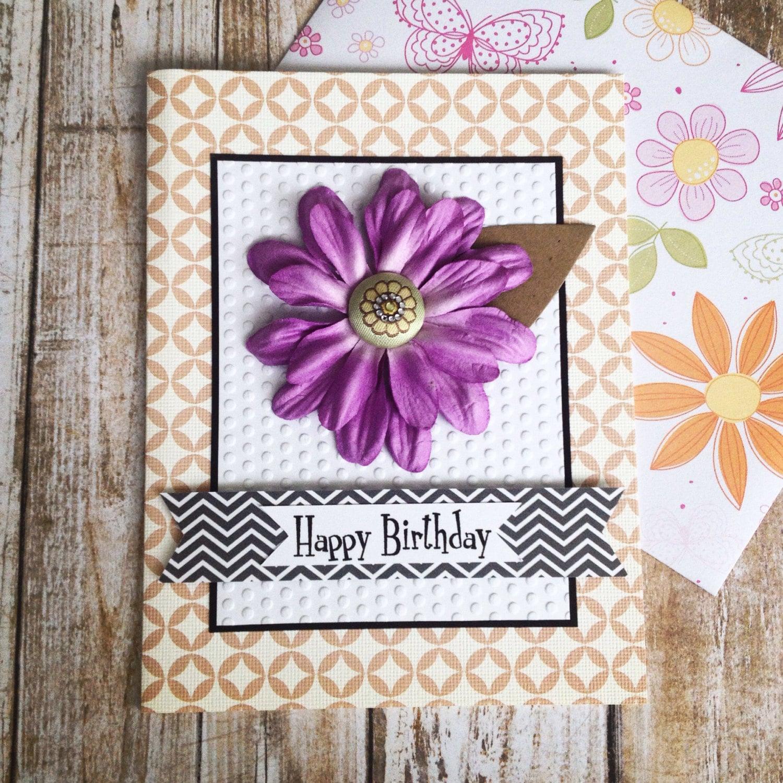 Birthday Card Purple Flower Handmade Scrapbook Paper