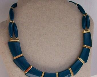 Vintage Trifari Teal Blue Lucite Necklace Choker Asymmetrical Design