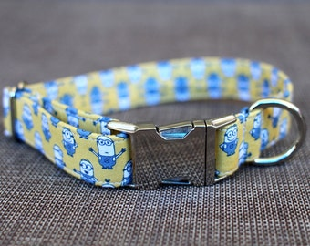 Minions Collar | Dog Collar | Male Dog Collar | Superhero Dog Collar | Pet Collar | Large Dog Collar | Small Dog Collar | Fabric Dog Collar