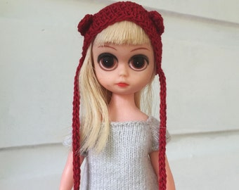Susie Sad Eyes tiny doll Red Cotton Animal Bunny Bear Hat Wig