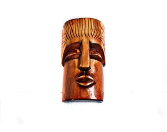 Wooden wall hanging face, Hand Carved Mans Face