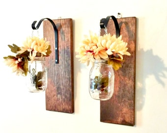 Hanging Mason Jar Wall Sconce Decor Candle Flower Hanging Wall Sconce Shabby Chic Rustic Country Decor
