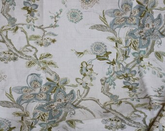 Fabric Drapery Upholstery, Limonia Marble, Acquitaine Printed in England, Linen fabric- for Drapery, Bedding, Light Upholstery,