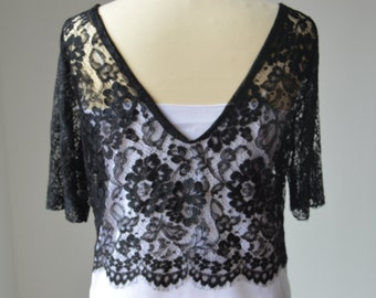 Top, shirt lace black Halter
