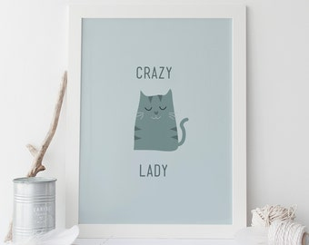 Modern turquoise cat poster cat print swag wall art for Buy ikea gift card with paypal