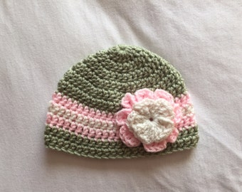 Baby Hat with Flower, Green and Pink Baby Beanie