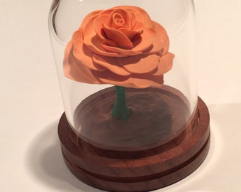 Light orange rose, Rose Dome, Enchanted Rose, Orange Rose, Cake topper, Wedding, Fairy Tale Rose, Beauty and the Beast Rose, Rose in glass