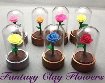 Mini Beauty and the Beast Rose Domes, pack of 5, Beauty and the Beast wedding, Enchanted Rose, 2.3 inch rose domes, rose in glass, disney