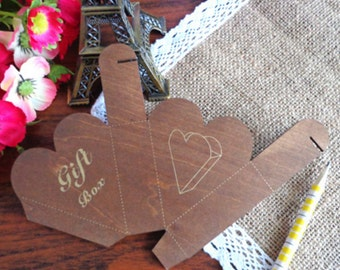 Mini Wooden ZAKKA Style DIY Heart Box Template/ DIY Gift Box Stencil/1PC