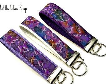 Keychain Wristlet, Key Fob Wristlet, Purple Key Fob, Fabric Key Fob, Fabric Keychain, Key Holder, Key Chain, Fabric Key Holder, Wristlet