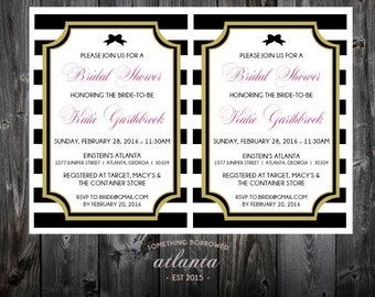 Bridal Shower Custom Printable Invitation Pink Black White Stripes Bows Fun