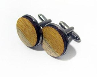 Yellow Heart Wood Cuff Link Pair (2) - Handmade Wooden Cuff Link