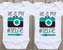 He/she is my #selfie Outfit for twins baby onesies Twin Baby shower gifts Twin Matching Outfits Twin Onesies Twin Bodysuits Funny Onesie