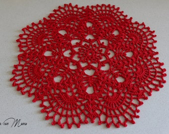 Red crochet centerpiece, round crochet centrino, red lace centrino, home decor, table runner, gifts for her, Valentine's Day