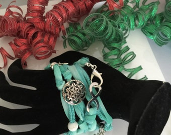 Duo use, silk ribbon wrap  bracelet or necklace