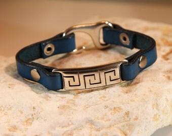 Mens Turquoise hieroglyphic  leather bracelet
