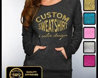 CUSTOM OFF SHOULDER Sweatshirt, Custom Tees, Customized Sweaters, Personalized Shirts, Customized Eco Sweatshirts, Custom Glitter Shirt