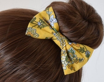 Yellow Floral Fabric Hair Bow | Floral Bow for Girls | Bows for Women | Bows for Teens | Yellow Hair Bow | Clip on Bow Tie for Boys