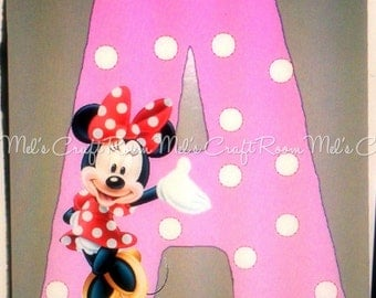 Minnie Mouse Wood Letter Personalized Name/ Initial Sign