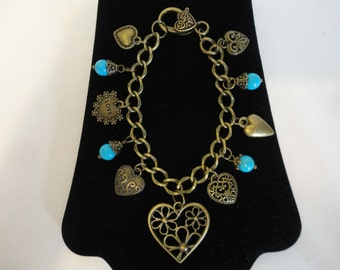 Antique Bronze Heart Charm Bracelet w/Beads