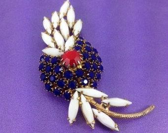 Vintage Brooch, Glass Gemstones, Flower Design Milk Glass, Opaque Gems, Vintage Gift