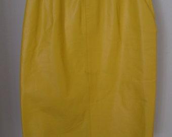 CJ TODD Saks Fifth Avenue Yellow Leather Skirt