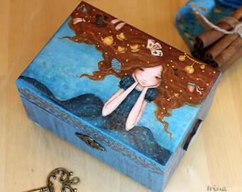 Alice in Wonderland, box for jewelry, decoupage box, wooden box, gift for Alice, gift for girl, for her