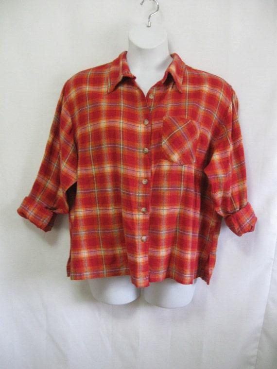 Vintage Womens 3x Orange Plaid Flannel Shirt Bust 56