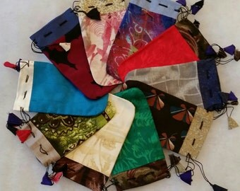 10 Handmade Drawstring Fabric Purses, Pouches, or Gift Bags