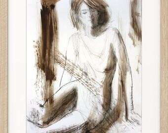 Woman sketch, Giclee print, Charcoal drawing, Woman print, Fine art print, Figurative Modern Artwork, Graphic art print, Wall decor print