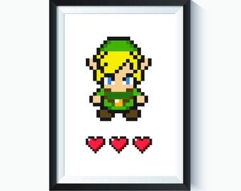 Legend of Zelda, Zelda, Link Art, Nursery Link Print, Zelda Wall Art, Zelda Poster, Link Poster, Link Gift, Kids Bedroom Decor, Printable