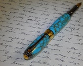 Mothers Day gift, Fountain pen, manufactured turquoise stone and acrylics with metallic gold veins and 22kt gold band and rhodium plating