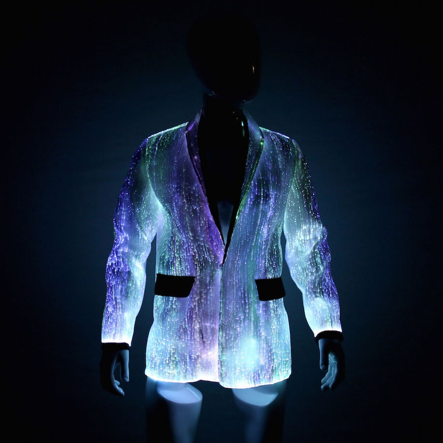 fiber optic clothing led light up jacket for men burning man. Black Bedroom Furniture Sets. Home Design Ideas