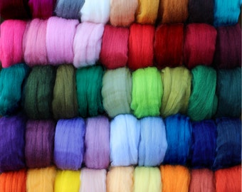 Mixed Color Bags Corriedale Wool Roving, 50gm (1.75 oz) Bags