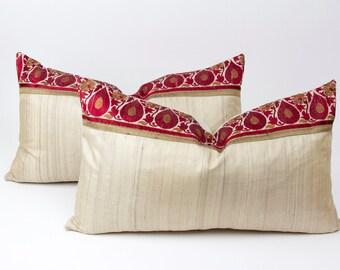 Pair of Royal Silk Keri Lumber Pillow, Custom Indian Sari Pillows