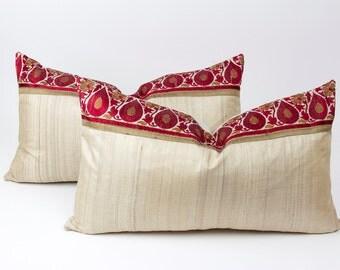 Pair of Royal Silk Keri Lumber Pillow, Custom Indian Sari Pillows, Brocade silk pillows, Lumber Pillows, Ivory silk pillows, Indian pillows
