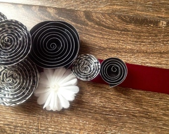 Black and White Paper Flower with Cranberry Ribbon Maternity Sash