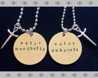 Game of Thrones valar morghulis valar dohaeris necklace set