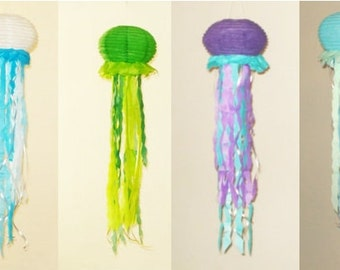 4 Jellyfish Paper Lanterns. Baby Shower, Room Decor, nursery decor. under the sea party. For Boys