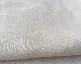 """60"""" Vintage Ivory Cotton Rayon Blend Floral Jacquard Medium Weight Woven Fabric By the Yard"""