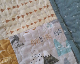 Adventure Awaits Neutral Baby Quilt | Crib Bedding Baby Boy Patchwork Quilt Woodland Mountains Tribal Arrows Crib Quilt Handmade