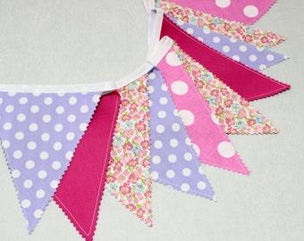 Bunting Fabric Garlande, Alice in Wonderland, Pink, Lavande Pennants Banners, Fabric Flags, Baby Shower Decorations Girl, Nursery Bunting