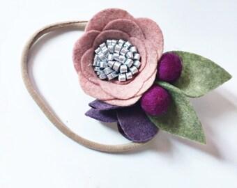 Felt Flower Headband - Baby Headband - Nylon Headband - Toddler Hair Band - Fall Baby Outfit- Back to School Accessory