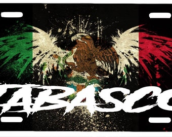 "Tabasco  Mexico Aluminum License Plate Placa  6"" x 12"""