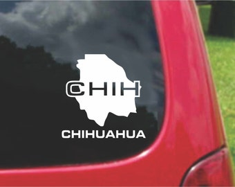 2 Pieces Chihuahua Mexico Outline Map  Stickers Decals 20 Colors To Choose From.  U.S.A Free Shipping